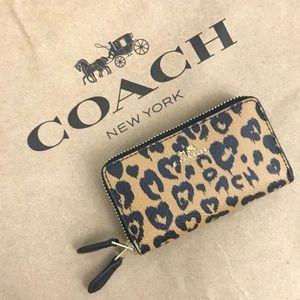 Coach Leopard Mini Double Zip Wallet NWT